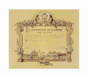 Diploma de la villa de Haro de 1878 a la condesa de Teba y Baños.