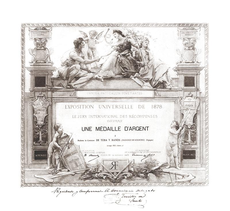 Diploma de la medalla de plata del concurso de vinos de la Exposición universal de 1878