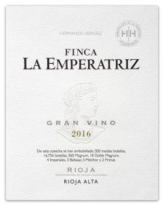 Etiqueta Finca La Emperatriz Gran Vino Blanco 2016