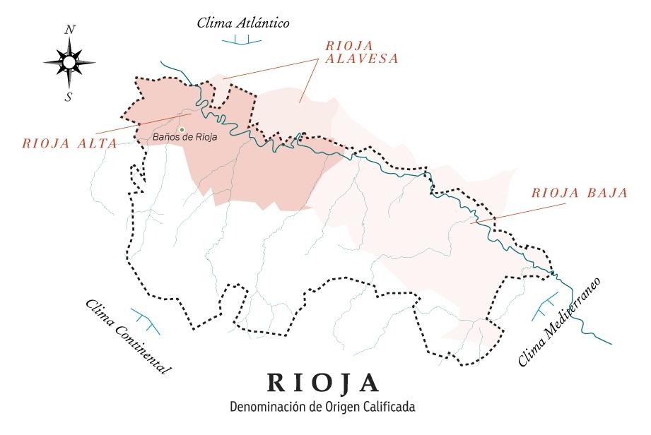 mapa de la Rioja con la localización del viñedo en la población Baños de Rioja