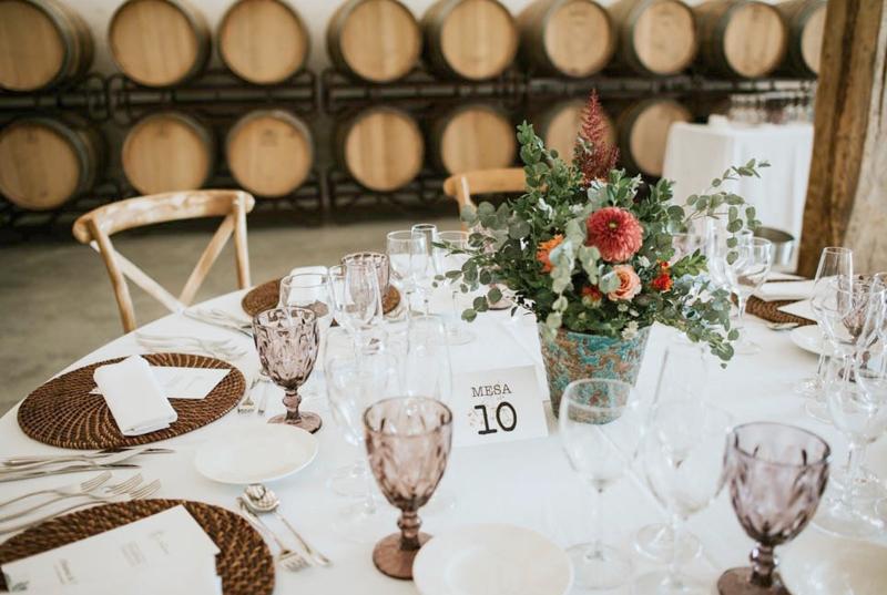 Mesa preparada para boda