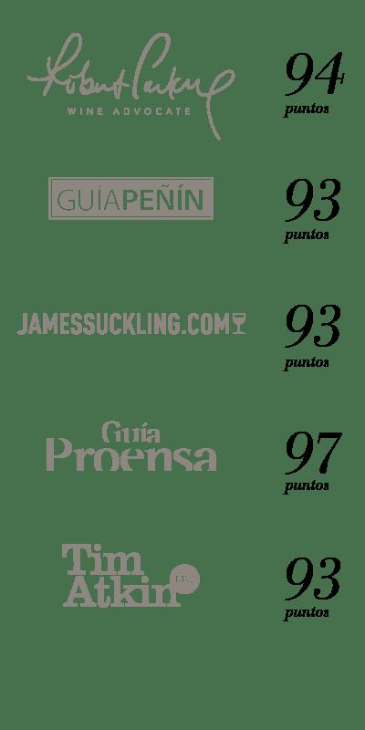 Puntuaciones de prescriptores del Gran Vino Tinto por encima de 90 puntos